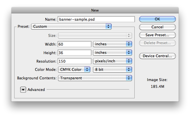 image of Photoshop New Document Dialog Box