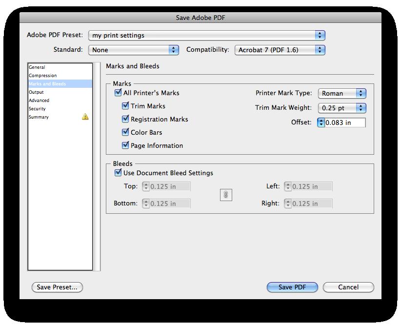 PDF print settings