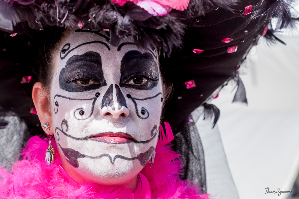 painted face with pink