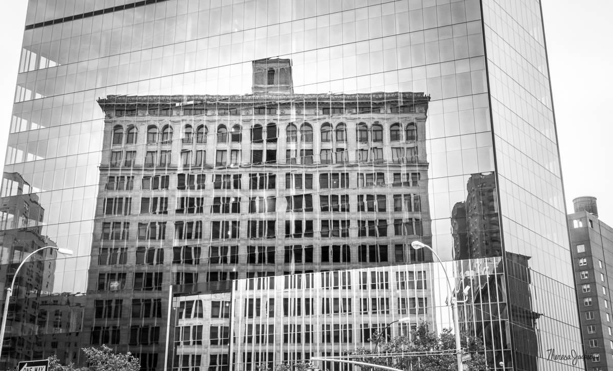 NYC building reflections in black and white