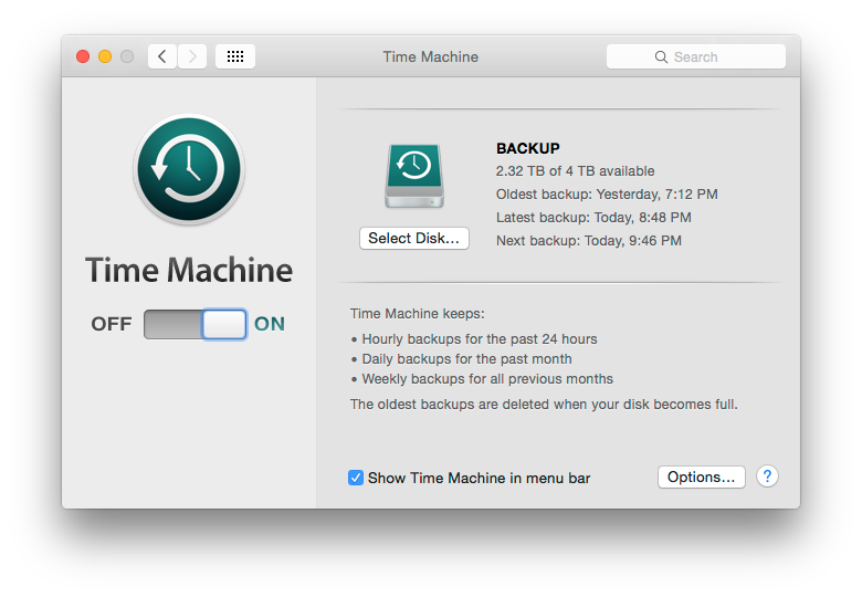 Time Machine screen