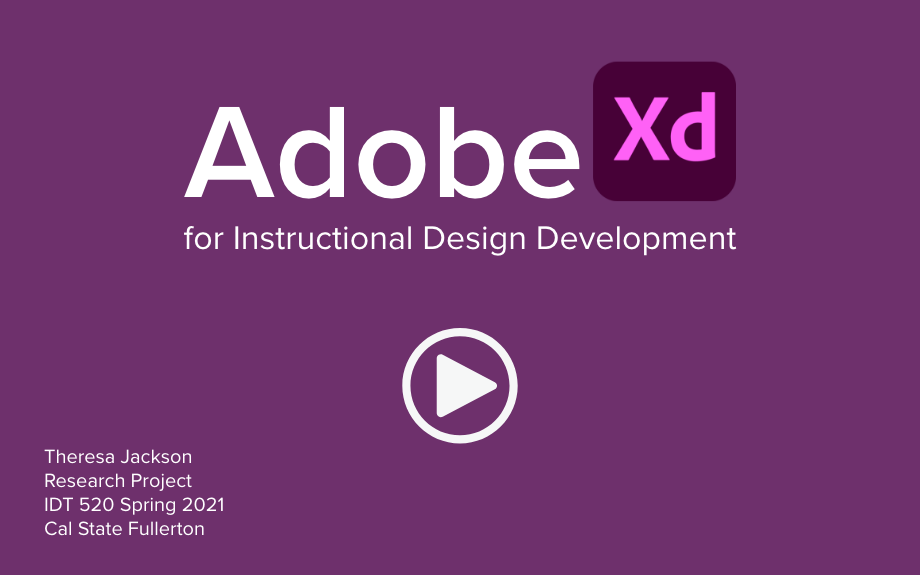 Cover image for Adobe XD for instructional design development. Links to project