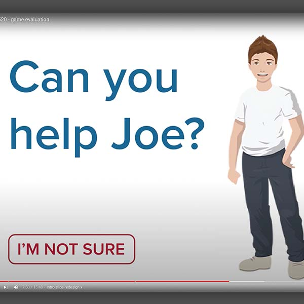 image of game cover slide. Text says Can you help Joe.